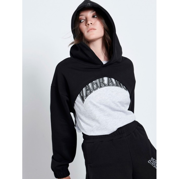 BLACK CROP HOODIE - Vagrancy lifestyle eshop for Casual men and women clothes