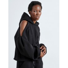 CUT SHOULDERS BLACK HOODIE