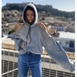 CUT SHOULDERS GREY HOODIE - Vagrancy lifestyle eshop for Casual men and women clothes