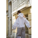 CUT SHOULDERS WHITE HOODIE - Vagrancy lifestyle eshop for Casual men and women clothes