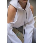 CUT SHOULDERS WHITE HOODIE