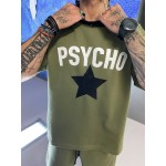 PSYCHO KHAKI SHORT SLEEVE SWEATER - Vagrancy lifestyle eshop for Casual men and women clothes