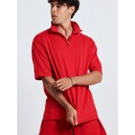 RED HALF ZIP TOP - Vagrancy lifestyle eshop for Casual men and women clothes