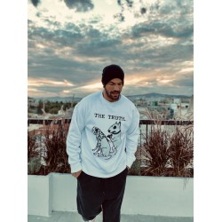 THE TRUTH WHITE VELVET TOUCH SWEATSHIRT - Vagrancy lifestyle eshop for Casual men and women clothes