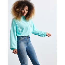 V TURQUOISE HALF ZIP SWEATER - Vagrancy lifestyle eshop for Casual men and women clothes