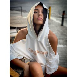 VAGRANCY CUT OFF WHITE HOODIE - Vagrancy lifestyle eshop for Casual men and women clothes