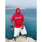 WHITE VAGRANCY RED HOODIE 3/4 - Vagrancy lifestyle eshop for Casual men and women clothes