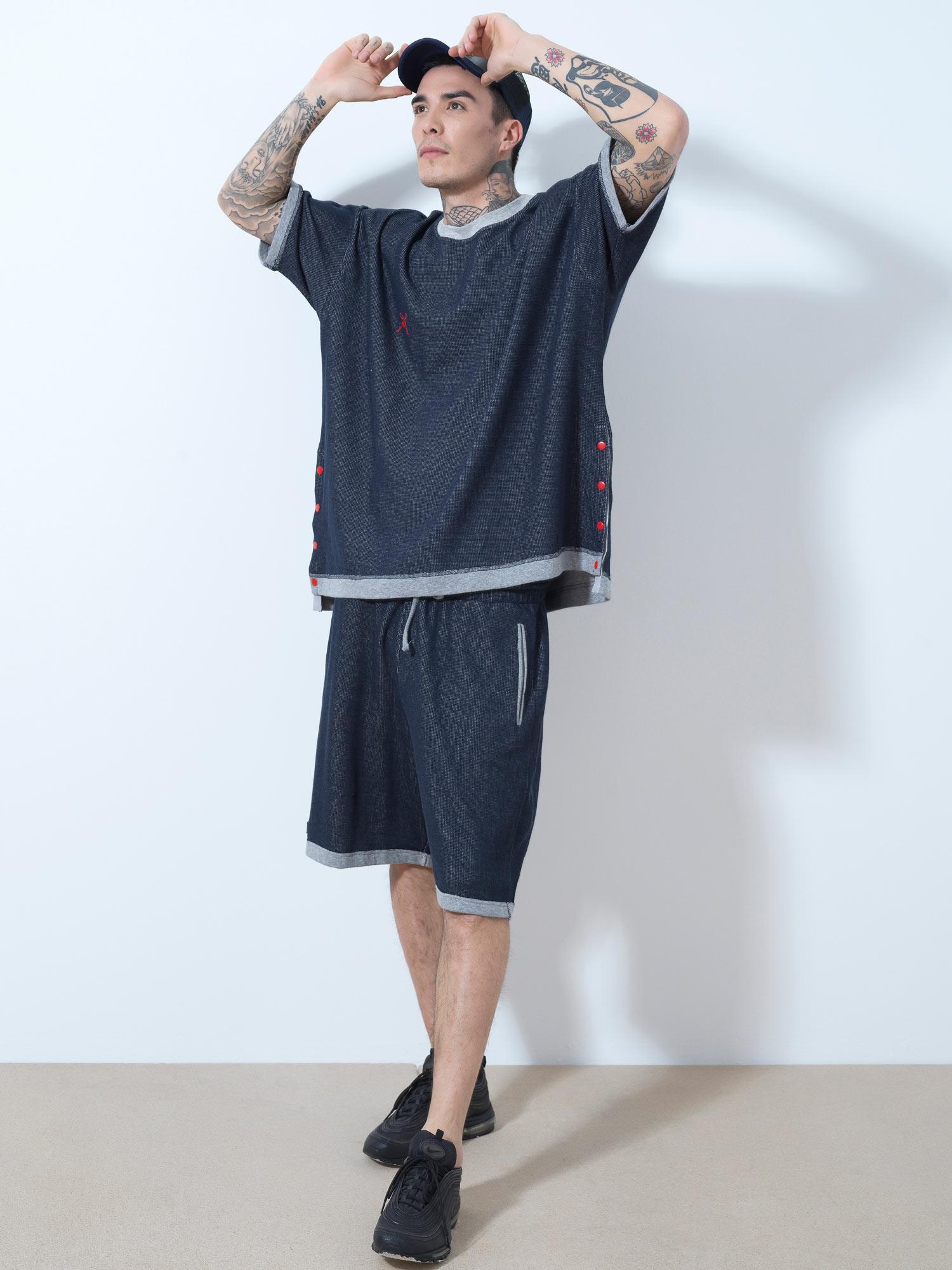 Blue Grey Rip Shorts