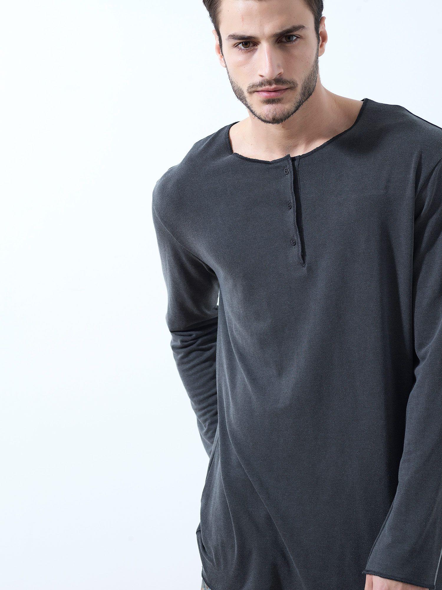 Dark Grey Buttoned Tshirt